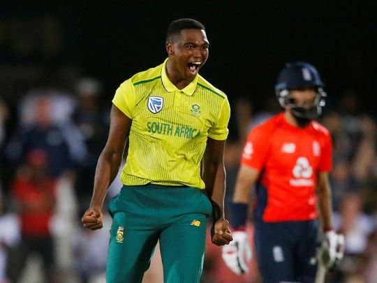 South Africa's Lungi Ngidi celebrates the wicket of England's Moeen Ali