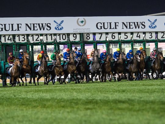 Horse racing action at Meydan for Dubai World Cup Carnival on February 13
