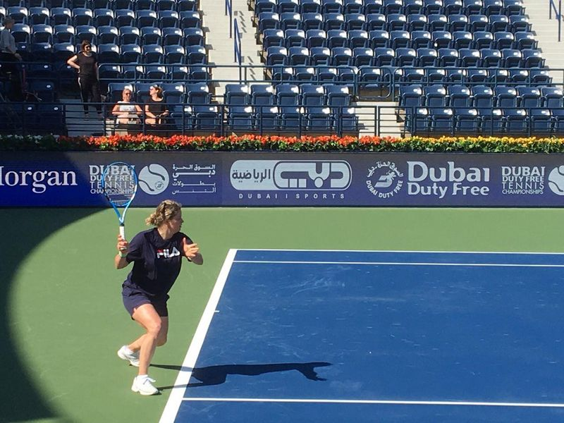 Kim Clijsters practises in Dubai ahead of the Dubai Duty Free Tennis Championships