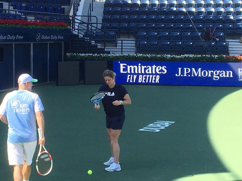 Kim Clijsters practises in Dubai ahead of the Dubai Duty Free Tennis Championships