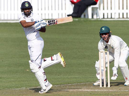 New Zealand, Feb 14 (ANI): India's Hanuma Vihari plays a shot during the 3-day practice Test match between India and New Zealand XI, at Seddon Park Hamilton on Friday. (ANI Photo)