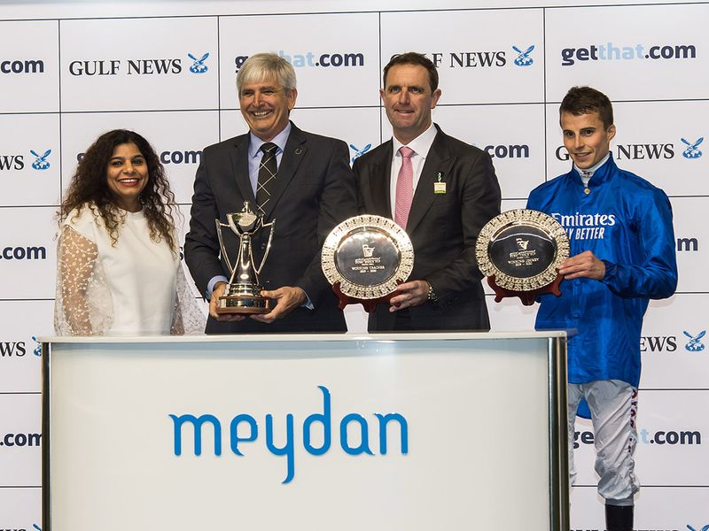 Priya Nair, Classifieds Sales Manager presenting trophy to Derek Poupard, trainer Charlie Appleby and jockey William Buick after Ya Hayati won the Meydan Trophy race sponsored by getthat  from Gulf News during Dubai World Cup Carnival meeting at Meydan racecourse on Thursday 13 February 2020. Photo: Virendra Saklani/Gulf News