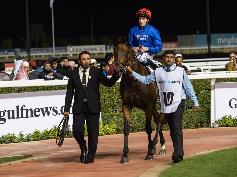 Race 2 at Horse racing action at Meydan for Dubai World Cup Carnival on February 13