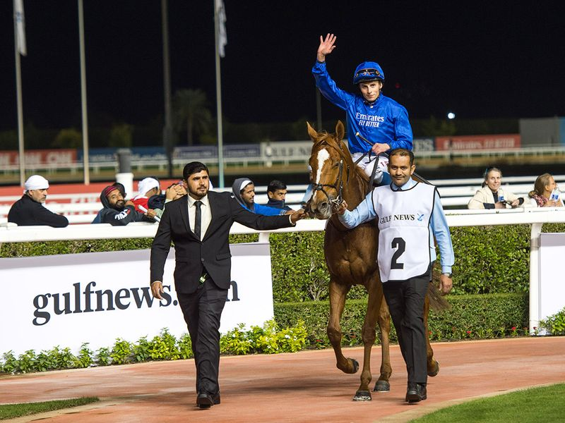 Race 4 at Horse racing action at Meydan for Dubai World Cup Carnival on February 13