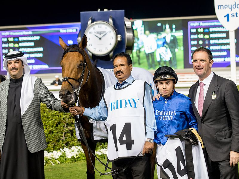 Race 7 at Horse racing action at Meydan for Dubai World Cup Carnival on February 13