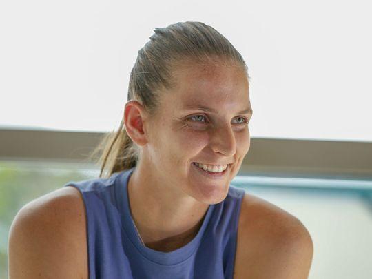 Former world No. 1 Karolina Pliskova at the Dubai Duty Free Tennis Championships Media Day