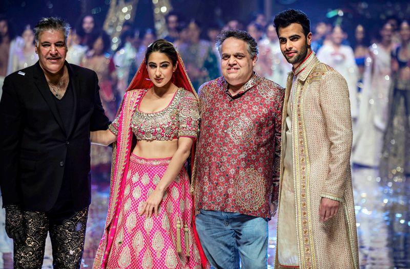 Bollywood actress Sara Ali Khan with designers Abu Jani and Sandeep Khosla