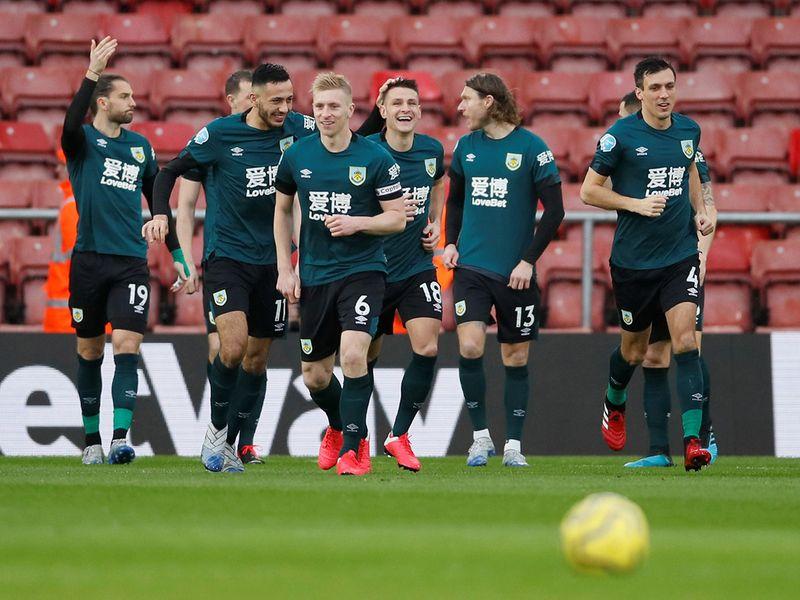Burnley celebrate against Southampton