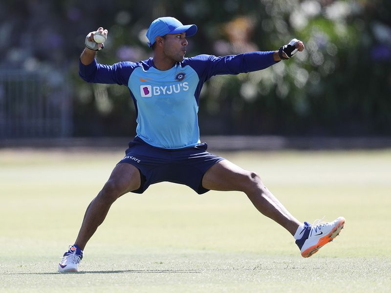 India's Mayank Agarwal in action during India's training