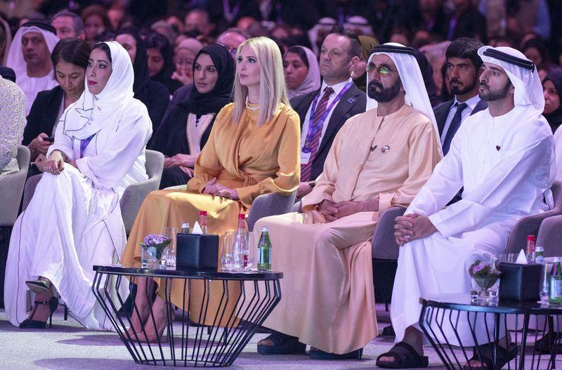 Shaikh Mohammad, Shaikh Hamdan, Ivanka Trump and Mona Al Marri at the forum.