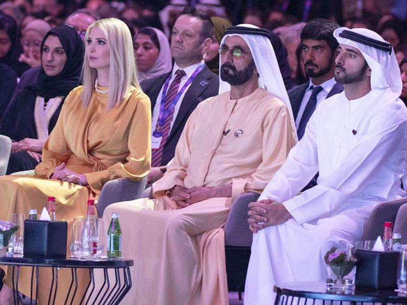 Shaikh Mohammad, Shaikh Hamdan and Ivanka Trump.