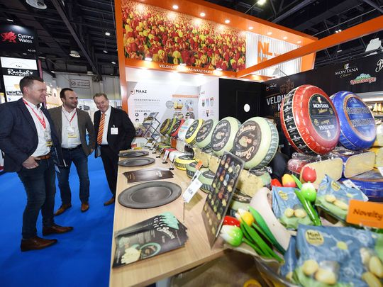 Visitors at the Veldhuyzen Kaas Stand at the GulFood 2020 Exhibition being held at the Dubai World Trade Center.