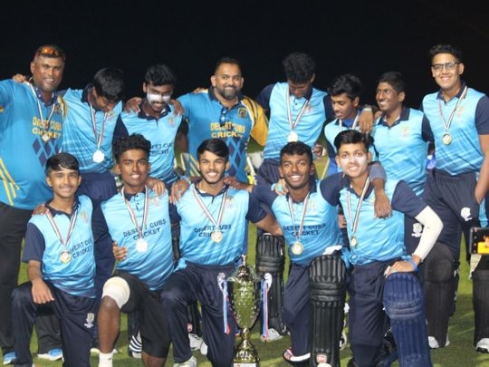 Desert Cubs Cricket Academy team that emerged winners of the Under-19 A Division UAE Academy League organised by Emirates Cricket Board. Picture: Organisers