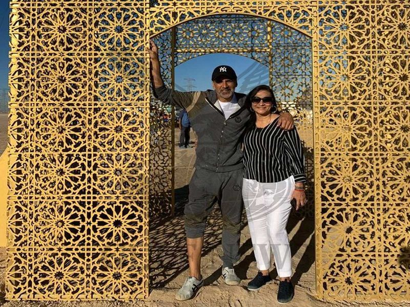 Akshay Kumar with Line Producer Mini Sarma on the sets of 'Laxmmi Bomb' in Al Qudra.