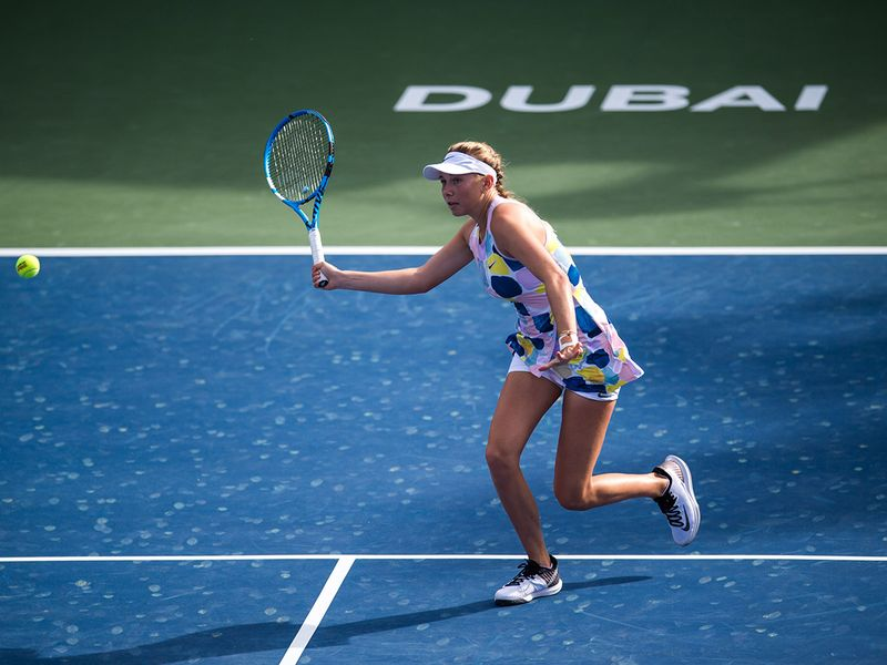 Amanda Anisimova of USA in action against Barbora Strycova of Czech Republic in the Dubai Duty Free Tennis Championships on Monday