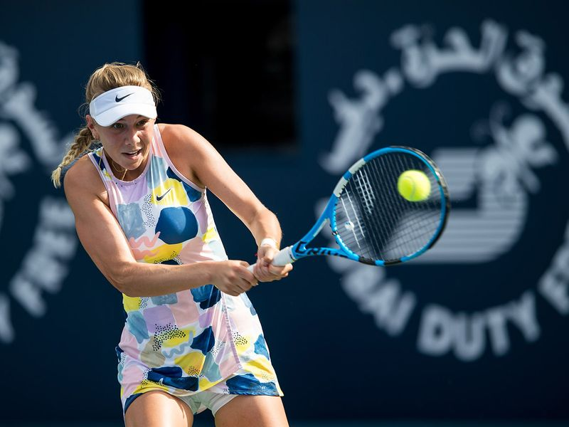 Amanda Anisimova of USA in action against Barbora Strycova of Czech Republic in the Dubai Duty Free Tennis Championships on Monday