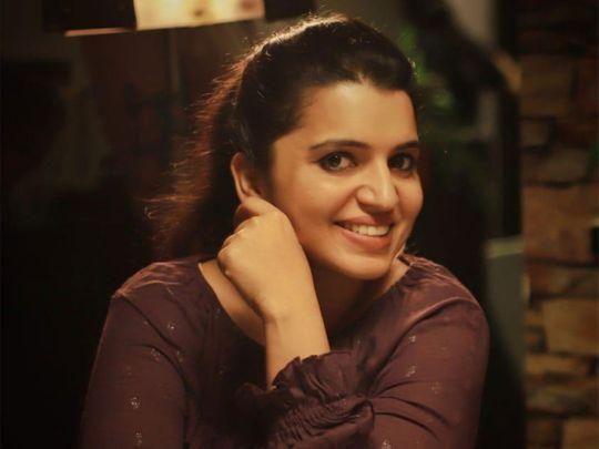 Dubai-based teacher Simimol on the sets of Malayalam movie Al Mallu