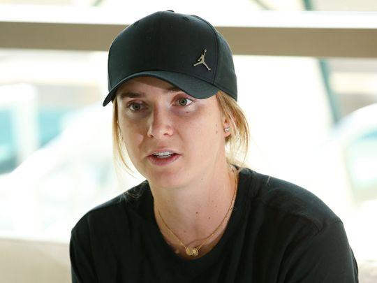 Elina Svitolina speaks to the media