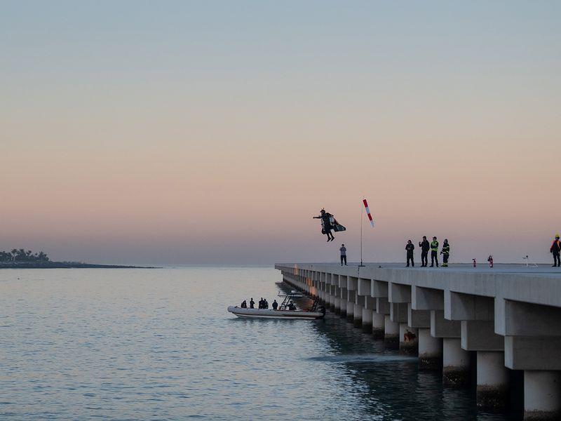 Jetman in flight in Dubai