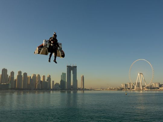 Jetman pilot Vince Reffet in flight