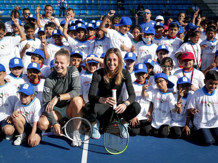 Karolina Muchova and Petra Martic with kids at the J.P. Morgan Kids Day-1581948675614