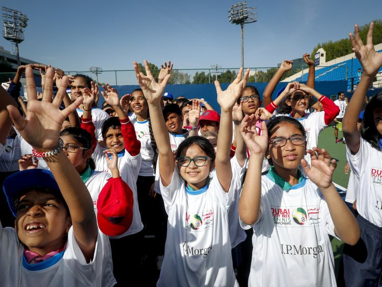 Over 200 children from local schools across the UAE took to the courts today on the first day of play at the J.P. Morgan Kids' Day-1581948685230