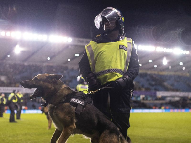 Police at the match between Millwall and Everton