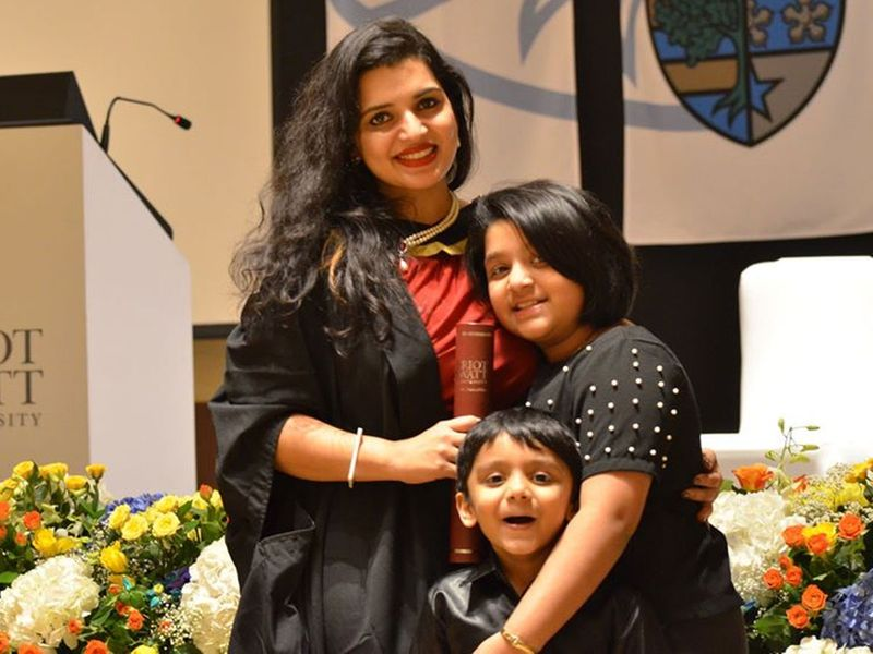 Simimol with her two children who study in Dubai