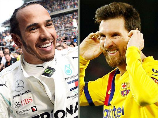 Lionel Messi (right) and dominant F1 driver Lewis Hamilton