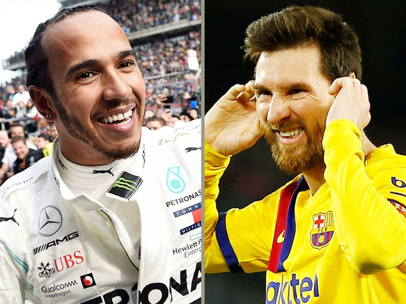 Lionel Messi (right) and dominant F1 driver Lewis Hamilton