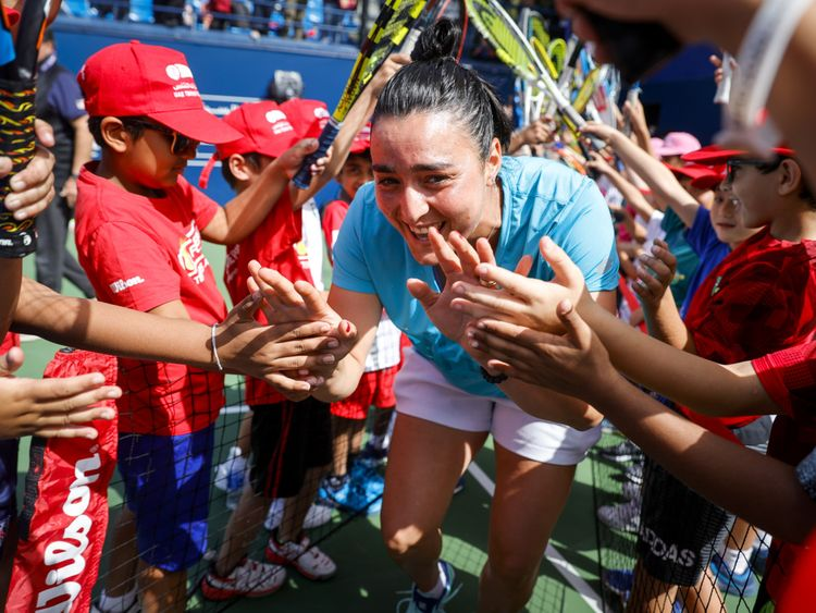 Ons Jabeur at the Tennis Emirates Clinic at Dubai Duty Free Tennis Championships-1582033777063