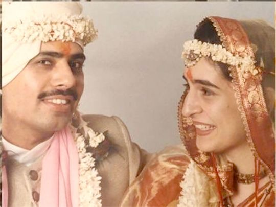 Priyanka Gandhi with Robert Vadra on her wedding day.