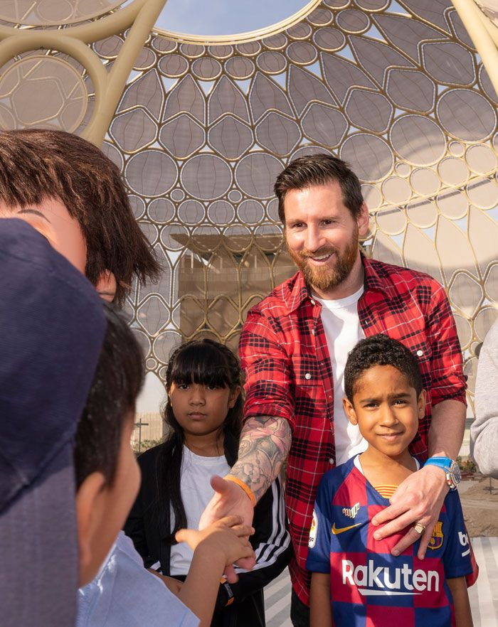 Starry-eyed UAE school students meet Lionel Messi at Expo 2020 site