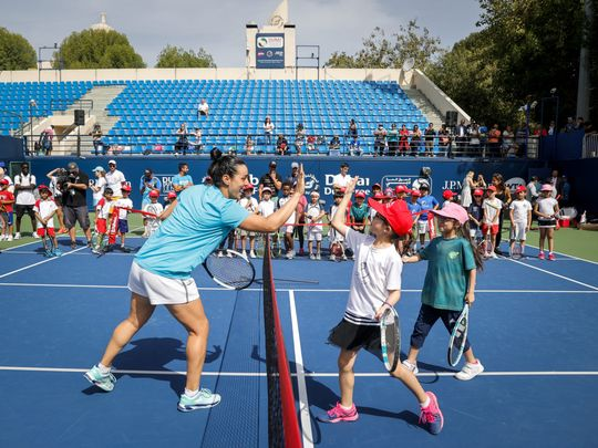 Tennis Emirates hosted over 50 young tennis players from affiliated tennis academies across the UAE during their Coaching Clinic on the second day of the WTA week at the Dubai Duty Free Tennis Cha (2)-1582033789860