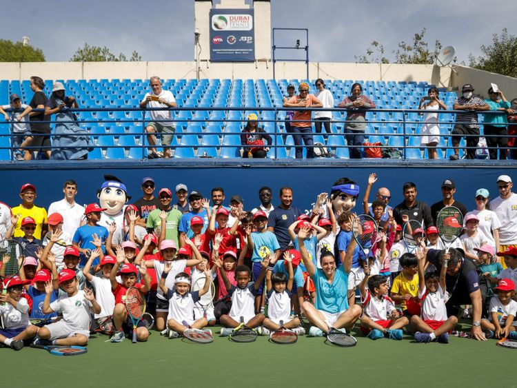 Tennis Emirates hosted over 50 young tennis players from affiliated tennis academies across the UAE during their Coaching Clinic on the second day of the WTA week at the Dubai Duty Free Tennis Cha-1582033785765