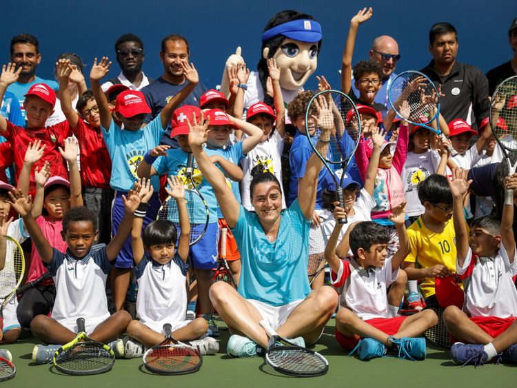 Tennis Emirates hosted over 50 young tennis players from affiliated tennis academies across the UAE during their Coaching Clinic on the second day of the WTA week at the Dubai Duty Free Tennis Championshi-1582033794427