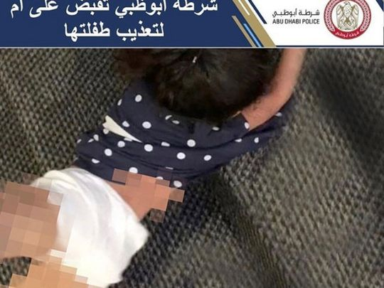 Abu Dhabi Police Instagram post of child being beaten by mother