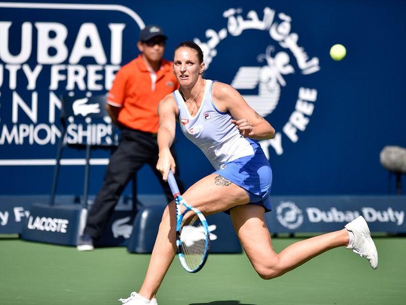 Carolina Pliskova plays against Kristina Mladenovic at the Dubai Duty Free Tennis Championships on 19th February, 2020. Photo Clint Egbert/Gulf News