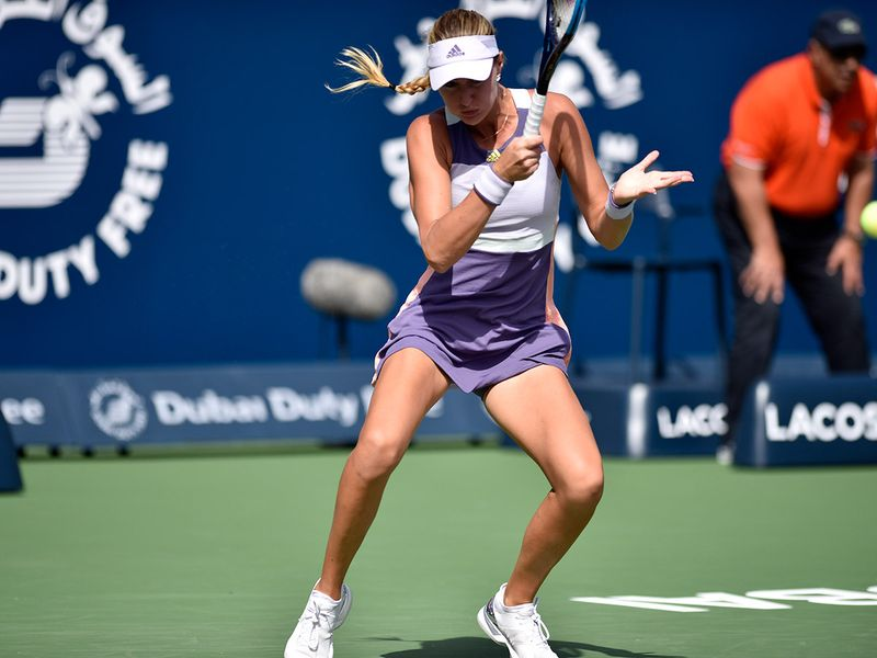 Kristina Mladenovic plays against Carolina Pliskova at the Dubai Duty Free Tennis Championships on 19th February, 2020. Photo Clint Egbert/Gulf News