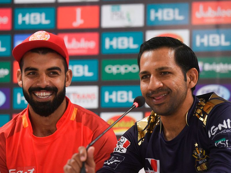 Pakistan Super League captains Sarfraz Ahmed of Quetta Gladiators and Shadab Khan of Islamabad United speak to the media