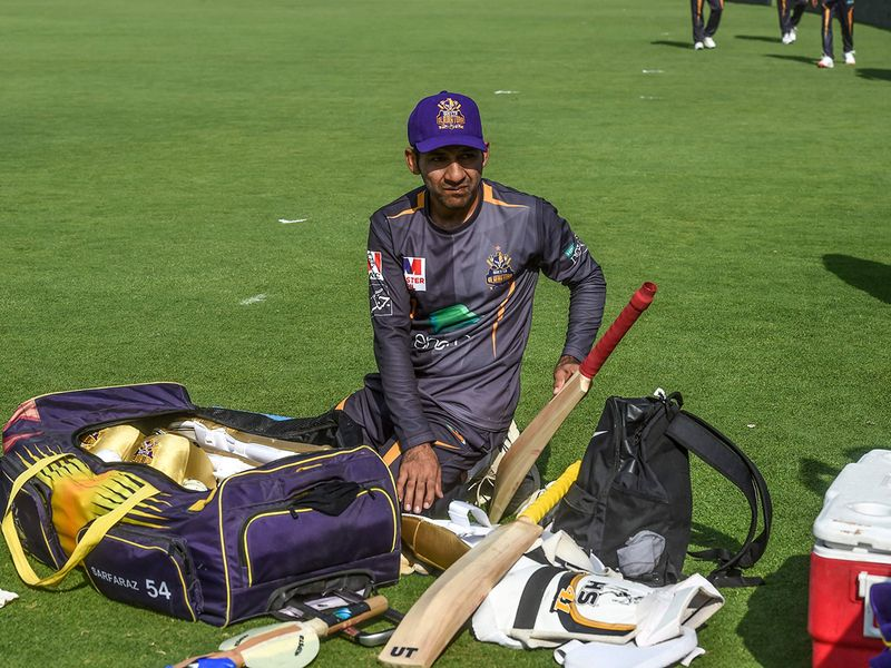 Pakistan's Sarfraz Ahmed sits during a practice session in Karachi