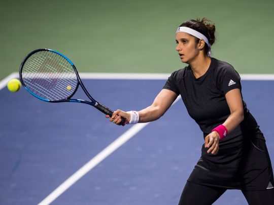 Sania Mirza in action in Dubai