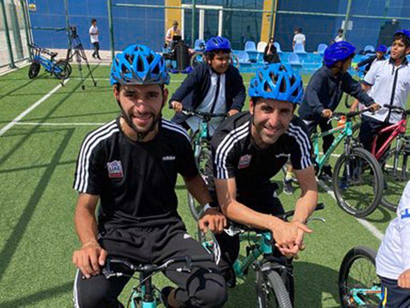 UAE Team Emirates riders Fernando Gaviria and Maximiliano Richeze