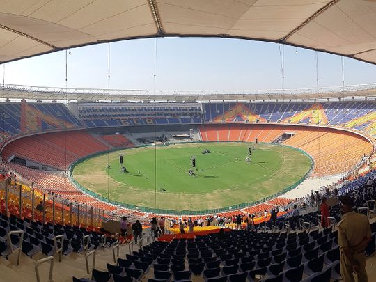 A view of world's largest cricket stadium, the Motera, which will be inaugurated by Prime Minister Narendra Modi and US President Donald Trump during his visit, in Ahmedabad