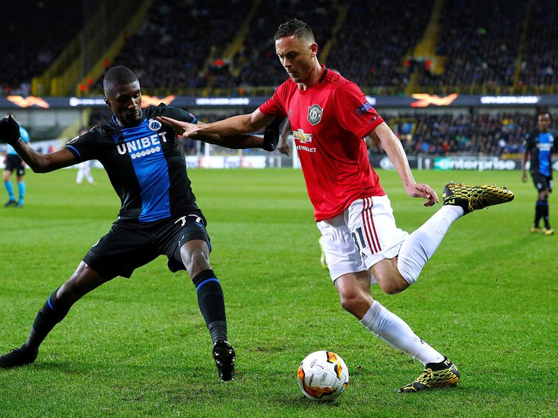 Manchester United's Nemanja Matic in action with Club Brugge's Clinton Mata