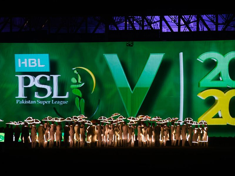 Artists perform during the opening ceremony of the Pakistan Super League (PSL) at the the National Cricket Stadium in Karachi on February 20, 2020, before start the T20 cricket match between Quetta Gladiators and Islamabad United.  / AFP / Asif HASSAN