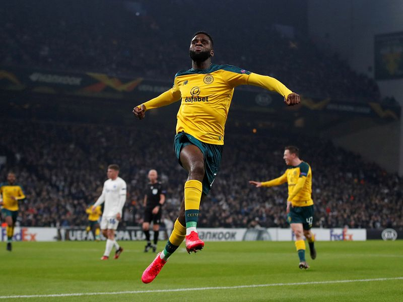 Celtic's Odsonne Edouard celebrates scoring their first goal against Copenhagen
