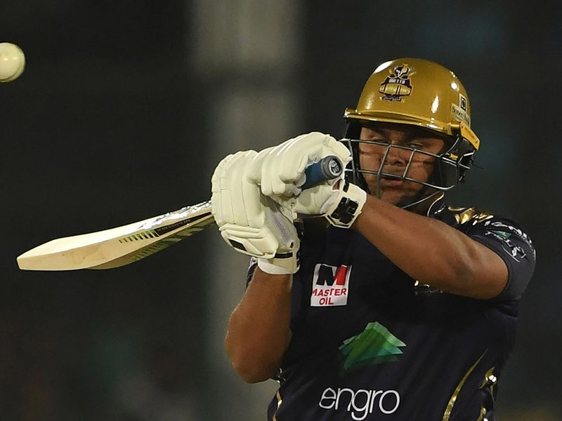 Quetta Gladiators's Azam Khan plays a shot during the Pakistan Super League (PSL) Twenty20 cricket match between Quetta Gladiators and Islamabad United at The National Cricket Stadium in Karachi on February 20, 2020.  / AFP / Asif HASSAN