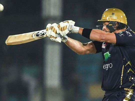 Quetta Gladiators's Shane Watson plays a shot during the Pakistan Super League (PSL) Twenty20 cricket match between Quetta Gladiators and Islamabad United at The National Cricket Stadium in Karachi on February 20, 2020.  / AFP / Asif HASSAN