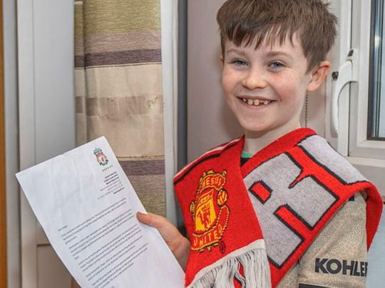 Daragh Curley with Jurgen Klopp's letter